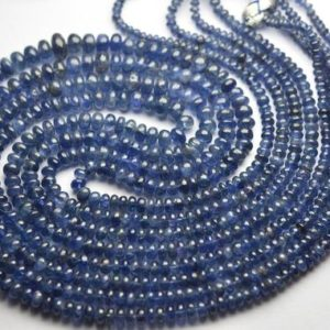 Shop Sapphire Rondelle Beads! 14 Inches Strand,Natural Burmese Blue Sapphire Smooth Rondelles,Size.3-5m | Natural genuine rondelle Sapphire beads for beading and jewelry making.  #jewelry #beads #beadedjewelry #diyjewelry #jewelrymaking #beadstore #beading #affiliate #ad