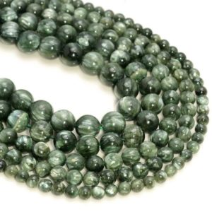 Genuine Natural Russian Seraphinite Clinochlore Gemstone Deep Green Smooth Grade AAA 4mm 5mm 6mm 7mm 8mm 9mm 10mm Round Loose Beads (A230) | Natural genuine round Gemstone beads for beading and jewelry making.  #jewelry #beads #beadedjewelry #diyjewelry #jewelrymaking #beadstore #beading #affiliate #ad