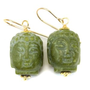 Shop Serpentine Earrings! Green Serpentine Buddha Head Earrings Carved Teardrop Dangle Drops Sterling Silver Or 14k Solid Gold Or Filled Earthy Unique Drops Spyglass | Natural genuine Serpentine earrings. Buy crystal jewelry, handmade handcrafted artisan jewelry for women.  Unique handmade gift ideas. #jewelry #beadedearrings #beadedjewelry #gift #shopping #handmadejewelry #fashion #style #product #earrings #affiliate #ad
