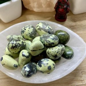 Shop Serpentine Stones & Crystals! Premium Green Serpentine Stones Set with Gift Bag and Note tumbled stone | Natural genuine stones & crystals in various shapes & sizes. Buy raw cut, tumbled, or polished gemstones for making jewelry or crystal healing energy vibration raising reiki stones. #crystals #gemstones #crystalhealing #crystalsandgemstones #energyhealing #affiliate #ad