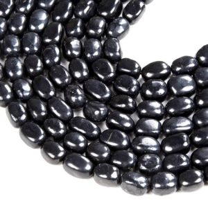 Shop Shungite Beads! 10x8MM   100% Natural Smooth Russian Shungite Anti Radiation High Carbon Grade AAA Pebble Nugget Loose Beads (D47) | Natural genuine chip Shungite beads for beading and jewelry making.  #jewelry #beads #beadedjewelry #diyjewelry #jewelrymaking #beadstore #beading #affiliate #ad