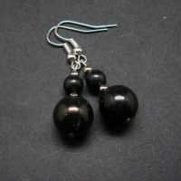 """Natural Shungite Beads Dangle Shepherd Hook Earrings From Russia – 1.8"""" 