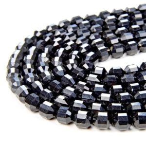 Shop Shungite Beads! 8MM Natural Shungite Gemstone Grade AAA Faceted Prism Double Point Cut Loose Beads (D31) | Natural genuine faceted Shungite beads for beading and jewelry making.  #jewelry #beads #beadedjewelry #diyjewelry #jewelrymaking #beadstore #beading #affiliate #ad