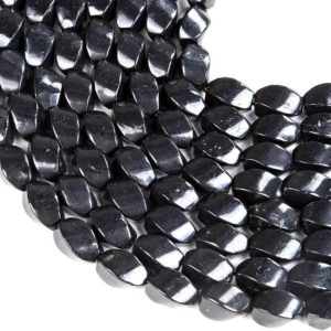 Shop Shungite Beads! 100% Natural Smooth Russian Shungite Anti Radiation High Carbon Grade AAA Twisted Barrel Drum 15x9MM Loose Beads (D48) | Natural genuine other-shape Shungite beads for beading and jewelry making.  #jewelry #beads #beadedjewelry #diyjewelry #jewelrymaking #beadstore #beading #affiliate #ad