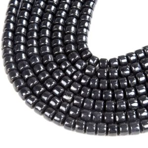 Shop Shungite Beads! 100% Natural Smooth Russian Shungite Anti Radiation High Carbon Grade AAA Cylinder Wheel Tube 8x5MM 12x8MM Loose Beads (D46) | Natural genuine other-shape Shungite beads for beading and jewelry making.  #jewelry #beads #beadedjewelry #diyjewelry #jewelrymaking #beadstore #beading #affiliate #ad