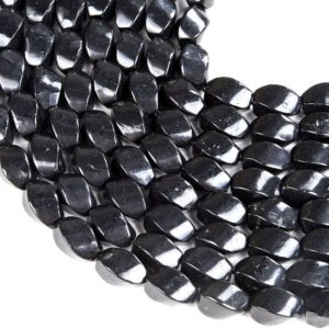 Shop Shungite Beads! Natural Smooth Shungite Gemstone Grade Aaa Twisted Barrel Drum 15x9mm Loose Beads Bulk Lot 1, 2, 6, 12 And 50 (d48) | Natural genuine other-shape Shungite beads for beading and jewelry making.  #jewelry #beads #beadedjewelry #diyjewelry #jewelrymaking #beadstore #beading #affiliate #ad