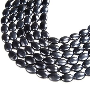 Shop Shungite Beads! Natural Smooth Shungite Gemstone Grade AAA Oval 10x8MM 14x10MM 18x13MM Loose Beads BULK LOT 1,2,6,12 and 50 (D47) | Natural genuine other-shape Shungite beads for beading and jewelry making.  #jewelry #beads #beadedjewelry #diyjewelry #jewelrymaking #beadstore #beading #affiliate #ad