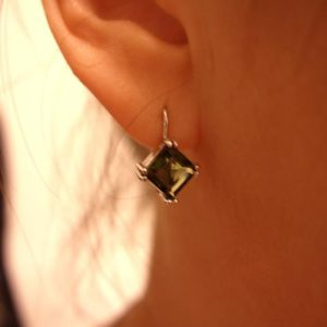 Shop Moldavite Earrings! Silver square faceted moldavite earrings Natural rhombus vltavin Lever back Rare gemstone Cosmic jewelry certificate of authenticity   Natural genuine Moldavite earrings. Buy crystal jewelry, handmade handcrafted artisan jewelry for women.  Unique handmade gift ideas. #jewelry #beadedearrings #beadedjewelry #gift #shopping #handmadejewelry #fashion #style #product #earrings #affiliate #ad