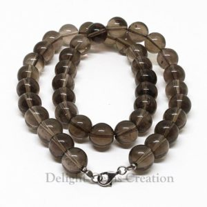 Shop Smoky Quartz Necklaces! Smoky Quartz Necklace, 12mm Smoky Quartz Smooth Round Beads Necklace, Natural Transparent Brown Quartz Beaded Necklace, 18 Inches Necklace | Natural genuine Smoky Quartz necklaces. Buy crystal jewelry, handmade handcrafted artisan jewelry for women.  Unique handmade gift ideas. #jewelry #beadednecklaces #beadedjewelry #gift #shopping #handmadejewelry #fashion #style #product #necklaces #affiliate #ad