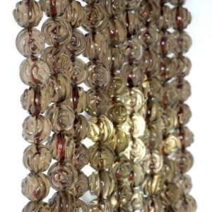 10mm Smoky Quartz Gemstone Grade AA Carved Flower Rose Loose Beads 7 inch Half Strand LOT 1,2, and 6 (90186082-731) | Natural genuine other-shape Gemstone beads for beading and jewelry making.  #jewelry #beads #beadedjewelry #diyjewelry #jewelrymaking #beadstore #beading #affiliate #ad