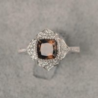 Smokey Quartz Ring Cushion Cut Luxury Flower Ring White Gold Engagement Ring For Women | Natural genuine Gemstone jewelry. Buy handcrafted artisan wedding jewelry.  Unique handmade bridal jewelry gift ideas. #jewelry #beadedjewelry #gift #crystaljewelry #shopping #handmadejewelry #wedding #bridal #jewelry #affiliate #ad