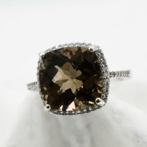Smokey Quartz Halo Ring, Genuine Gemstone 12mm 6 plus ct.Cushion Cut Checkerboard Top, With CZ 's, 925 Sterling Silver Comfort Mount Back | Natural genuine Gemstone rings, simple unique handcrafted gemstone rings. #rings #jewelry #shopping #gift #handmade #fashion #style #affiliate #ad