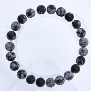 """Shop Snowflake Obsidian Bracelets! 8MM Matte Snowflake Obsidian Beads Bracelet Grade AAA Genuine Natural Round Gemstone 7"""" BULK LOT 1,3,5,10 and 50 (106733h-072) 