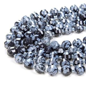 Shop Snowflake Obsidian Faceted Beads! 10mm Cristobalite Snowflake Obsidian Gemstone Grade Aaa Faceted Lantern Loose Beads (d41) | Natural genuine faceted Snowflake Obsidian beads for beading and jewelry making.  #jewelry #beads #beadedjewelry #diyjewelry #jewelrymaking #beadstore #beading #affiliate #ad