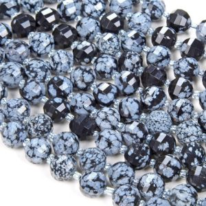 Shop Snowflake Obsidian Faceted Beads! 10MM Cristobalite Snowflake Obsidian Gemstone Grade AAA Faceted Lantern Loose Beads BULK LOT 1,2,6,12 and 50 (D41) | Natural genuine faceted Snowflake Obsidian beads for beading and jewelry making.  #jewelry #beads #beadedjewelry #diyjewelry #jewelrymaking #beadstore #beading #affiliate #ad