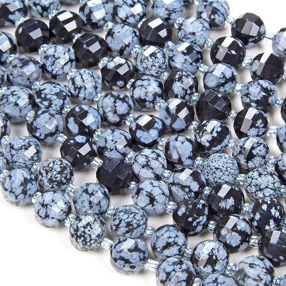 10mm Cristobalite Snowflake Obsidian Gemstone Grade Aaa Faceted Lantern Loose Beads Bulk Lot 1,2,6,12 And 50 (d41)
