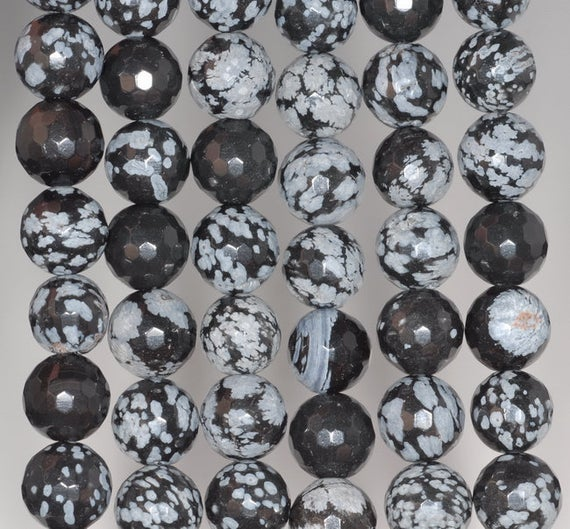 10mm Snowflake Obsidian Gemstone Faceted Round Loose Beads 7 Inch Half Strand (80002040 H-a65)