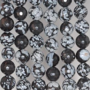 Shop Snowflake Obsidian Faceted Beads! 10mm Snowflake Obsidian Gemstone Faceted Round Loose Beads 15 Inch Full Strand (80002040-a65) | Natural genuine faceted Snowflake Obsidian beads for beading and jewelry making.  #jewelry #beads #beadedjewelry #diyjewelry #jewelrymaking #beadstore #beading #affiliate #ad