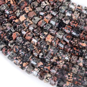 Shop Snowflake Obsidian Faceted Beads! 10×6-10x4mm Mexican Red Snowflake Obsidian Gemstone Faceted Cylinder Wheel Tube Loose Beads (s5) | Natural genuine faceted Snowflake Obsidian beads for beading and jewelry making.  #jewelry #beads #beadedjewelry #diyjewelry #jewelrymaking #beadstore #beading #affiliate #ad