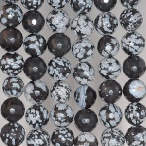 Shop Snowflake Obsidian Faceted Beads! 12mm Snowflake Obsidian Gemstone Faceted Round Loose Beads 7.5 Inch Half Strand (80002056 H-a65) | Natural genuine faceted Snowflake Obsidian beads for beading and jewelry making.  #jewelry #beads #beadedjewelry #diyjewelry #jewelrymaking #beadstore #beading #affiliate #ad