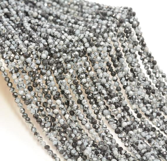 3mm Snowflake Obsidian Gemstone Black White Micro Faceted Round Grade Aaa Beads 15inch Bulk Lot 1,6,12,24 And 48 (80010167-a195)