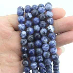 Shop Sodalite Faceted Beads! Natural Blue Sodalite Faceted round beads in 6mm -15-16 inches–EB393 | Natural genuine faceted Sodalite beads for beading and jewelry making.  #jewelry #beads #beadedjewelry #diyjewelry #jewelrymaking #beadstore #beading #affiliate #ad