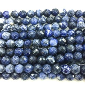 sodalite faceted round beads – blue sodalite gemstone beads – blue faceted stone beads  – wholesale sodalite beads – faceted beads -15inch | Natural genuine beads Array beads for beading and jewelry making.  #jewelry #beads #beadedjewelry #diyjewelry #jewelrymaking #beadstore #beading #affiliate #ad
