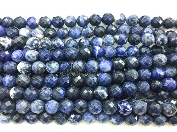 Sodalite Faceted Round Beads - Blue Sodalite Gemstone Beads - Blue Faceted Stone Beads  - Wholesale Sodalite Beads - Faceted Beads -15inch