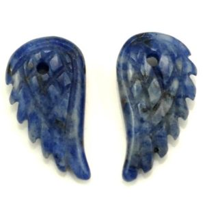 Shop Sodalite Bead Shapes! 19X10MM  Sodalite Gemstone Carved Angel Wing Beads BULK LOT 2,6,12,24,48 (90187162-001) | Natural genuine other-shape Sodalite beads for beading and jewelry making.  #jewelry #beads #beadedjewelry #diyjewelry #jewelrymaking #beadstore #beading #affiliate #ad