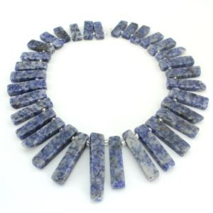 20%OFF Graduated Blue Sodalite Stick Beads,Flat Sodalite Point beads Beads , Long stick stone beads, Blue spot gemstone beads–15.5inches | Natural genuine other-shape Gemstone beads for beading and jewelry making.  #jewelry #beads #beadedjewelry #diyjewelry #jewelrymaking #beadstore #beading #affiliate #ad