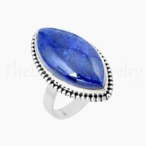 Shop Sodalite Rings! Blue Sodalite Ring, Marquise Gemstone, 925 Sterling Silver, Simple Band Ring, Silver Jewelry, Women's Jewelry, Christmas Sale, Dainty Ring   Natural genuine Sodalite rings, simple unique handcrafted gemstone rings. #rings #jewelry #shopping #gift #handmade #fashion #style #affiliate #ad