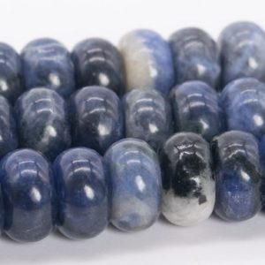 """Shop Sodalite Rondelle Beads! 10x6MM Blue Sodalite Beads Grade AAA Genuine Natural Gemstone Rondelle Loose Beads 15"""" / 7.5"""" Bulk Lot Options (110536) 