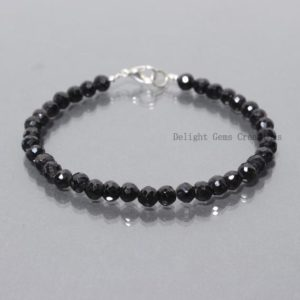 Shop Spinel Bracelets! Natural Black Spinel Beaded Bracelet, 6mm Spinel Faceted Round Beads Bracelet, Black Bead Gemstone Bracelet 8 Inch // Available In All Sizes | Natural genuine Spinel bracelets. Buy crystal jewelry, handmade handcrafted artisan jewelry for women.  Unique handmade gift ideas. #jewelry #beadedbracelets #beadedjewelry #gift #shopping #handmadejewelry #fashion #style #product #bracelets #affiliate #ad