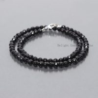 Black Spinel Necklace, Black Spinel Jewelry, Sterling Silver, Beaded, Layering Necklace, 5-5.5mm Black Spinel Faceted Round Necklace 18 Inch | Natural genuine Gemstone jewelry. Buy crystal jewelry, handmade handcrafted artisan jewelry for women.  Unique handmade gift ideas. #jewelry #beadedjewelry #beadedjewelry #gift #shopping #handmadejewelry #fashion #style #product #jewelry #affiliate #ad