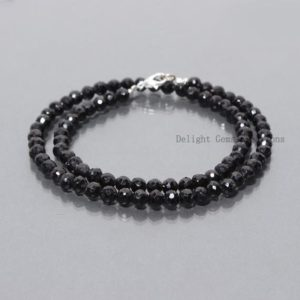 Shop Spinel Necklaces! Black Spinel Necklace, Black Spinel Jewelry, Sterling Silver, Beaded, Layering Necklace, 5-5.5mm Black Spinel Faceted Round Necklace 18 Inch   Natural genuine Spinel necklaces. Buy crystal jewelry, handmade handcrafted artisan jewelry for women.  Unique handmade gift ideas. #jewelry #beadednecklaces #beadedjewelry #gift #shopping #handmadejewelry #fashion #style #product #necklaces #affiliate #ad