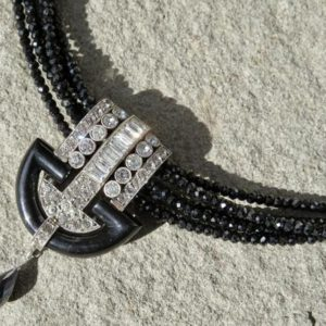 Shop Spinel Pendants! Art Deco Necklace, Black Spinel Necklace, Vintage Art Deco Pendant | Natural genuine Spinel pendants. Buy crystal jewelry, handmade handcrafted artisan jewelry for women.  Unique handmade gift ideas. #jewelry #beadedpendants #beadedjewelry #gift #shopping #handmadejewelry #fashion #style #product #pendants #affiliate #ad
