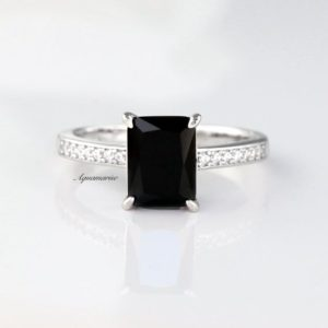 Black Diamond Ring- Sterling Silver Ring- Black Spinel Engagement Ring- Promise Ring- Black Gemstone- April Birthstone Birthday Gift For Her | Natural genuine Array rings, simple unique alternative gemstone engagement rings. #rings #jewelry #bridal #wedding #jewelryaccessories #engagementrings #weddingideas #affiliate #ad