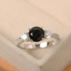 Black spinel ring, sterling silver, engagement ring, round cut, black stone ring | Natural genuine Array rings, simple unique alternative gemstone engagement rings. #rings #jewelry #bridal #wedding #jewelryaccessories #engagementrings #weddingideas #affiliate #ad