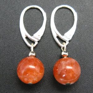 Shop Sunstone Earrings! Shiny AAA Grade Genuine Sunstone Round Beads Dangle 925 Silver Leverback Earrings | Natural genuine Sunstone earrings. Buy crystal jewelry, handmade handcrafted artisan jewelry for women.  Unique handmade gift ideas. #jewelry #beadedearrings #beadedjewelry #gift #shopping #handmadejewelry #fashion #style #product #earrings #affiliate #ad