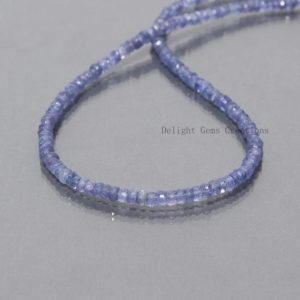 """Shop Tanzanite Necklaces! Genuine Tanzanite Stone Beads Necklace, 3.75mm Tanzanite Faceted Roundel Bead Necklace, AAA++ Quality Tanzanite Jewelry 18"""", Christmas Gift 