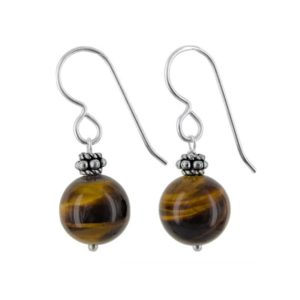 Shop Tiger Eye Earrings! Tiger's Eye Earrings, 11 MM Round Beads, Healing Gemstone Dangle Brown Earrings, Silver Jewelry and Bali Beads   Natural genuine Tiger Eye earrings. Buy crystal jewelry, handmade handcrafted artisan jewelry for women.  Unique handmade gift ideas. #jewelry #beadedearrings #beadedjewelry #gift #shopping #handmadejewelry #fashion #style #product #earrings #affiliate #ad