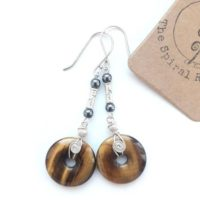 Tigers Eye Drop Earrings, Silver Wire Wrap Statement Earrings, Boho Crystal Healing | Natural genuine Gemstone jewelry. Buy crystal jewelry, handmade handcrafted artisan jewelry for women.  Unique handmade gift ideas. #jewelry #beadedjewelry #beadedjewelry #gift #shopping #handmadejewelry #fashion #style #product #jewelry #affiliate #ad