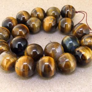 """Shop Tiger Eye Bead Shapes! One Full Strand — Charm AB  Yellow Tiger Eye Stone Gemstone Beads— 18mm —-about 22Pieces—- 15.5"""" in length 