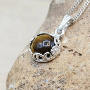 Shop Tiger Eye Pendants! Tiny Tigers eye pendant necklace. 925 sterling silver. Crystal Reiki jewelry. Capricorn jewelry uk. 8mm tiger eye stone | Natural genuine Tiger Eye pendants. Buy crystal jewelry, handmade handcrafted artisan jewelry for women.  Unique handmade gift ideas. #jewelry #beadedpendants #beadedjewelry #gift #shopping #handmadejewelry #fashion #style #product #pendants #affiliate #ad