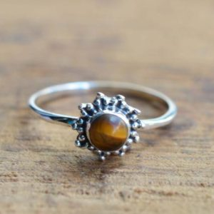 Shop Tiger Eye Rings! Tiger Eye 925 Sterling Silver Round Shape Gemstone Flower Ring   Natural genuine Tiger Eye rings, simple unique handcrafted gemstone rings. #rings #jewelry #shopping #gift #handmade #fashion #style #affiliate #ad