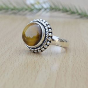 Shop Tiger Eye Rings! Designer Round Tiger Eye Ring,Solid 925 Sterling Silver Brown Gemstone Ring,Handmade Jewelry,Perfect Gift Women's Ring,Tiger Eye's Ring   Natural genuine Tiger Eye rings, simple unique handcrafted gemstone rings. #rings #jewelry #shopping #gift #handmade #fashion #style #affiliate #ad