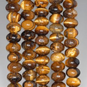 Shop Tiger Eye Rondelle Beads! 10x6mm Yellow Tiger Eye Gemstone Grade Ab Rondelle Loose Beads 16 Inch Full Strand (80000491-a70) | Natural genuine rondelle Tiger Eye beads for beading and jewelry making.  #jewelry #beads #beadedjewelry #diyjewelry #jewelrymaking #beadstore #beading #affiliate #ad