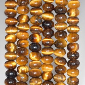 Shop Tiger Eye Rondelle Beads! 8X5MM Yellow Tiger Eye Gemstone Grade A Rondelle Loose Beads 16 inch Full Strand (80000488-A71) | Natural genuine rondelle Tiger Eye beads for beading and jewelry making.  #jewelry #beads #beadedjewelry #diyjewelry #jewelrymaking #beadstore #beading #affiliate #ad