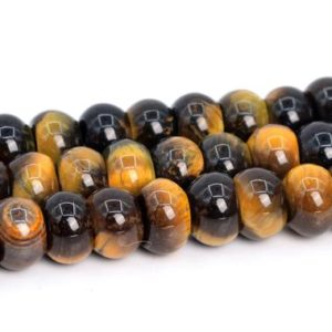 Shop Tiger Eye Rondelle Beads! Yellow Blue Tiger Eye Beads Grade A Genuine Natural Gemstone Rondelle Loose Beads 6x4MM 8x5MM Bulk Lot Options | Natural genuine rondelle Tiger Eye beads for beading and jewelry making.  #jewelry #beads #beadedjewelry #diyjewelry #jewelrymaking #beadstore #beading #affiliate #ad