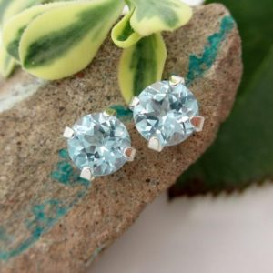 Shop Topaz Earrings! Natural Blue Topaz Studs – Genuine Sky Blue Topaz Stud Earrings in Real 14k Gold or Platinum – 8mm   Natural genuine Topaz earrings. Buy crystal jewelry, handmade handcrafted artisan jewelry for women.  Unique handmade gift ideas. #jewelry #beadedearrings #beadedjewelry #gift #shopping #handmadejewelry #fashion #style #product #earrings #affiliate #ad